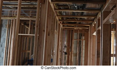 Wooden house construction home framing interior residential ...