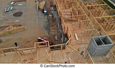 Wooden beam house construction home framing residential home