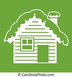 Wooden house covered with snow icon green