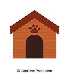 wooden house dog paw print pet