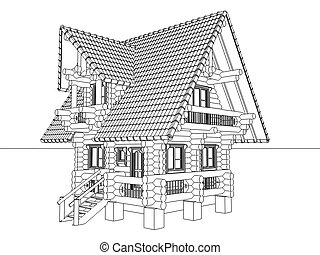 wooden house drawing
