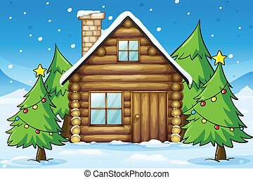 wooden house - illustration of a wooden house in snowy land