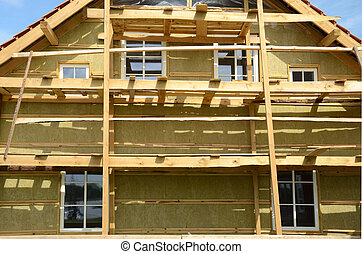 wooden house exterior thermal insulation with mineral rockwool