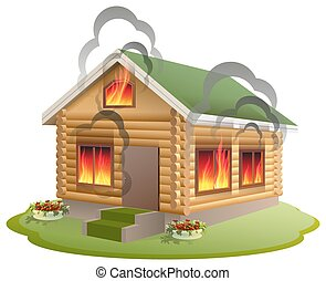 Wooden house fire. Wooden home burning. Insurance of ...