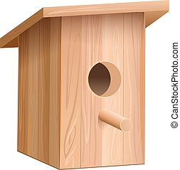Nesting box for birds - highly detailed cartoon background ...