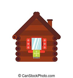 Wooden house icon, flat style