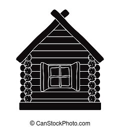 Wooden house icon in black style isolated on white...