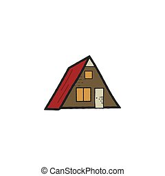 Wooden house icon isolated on white background. Stock vector camping symbol