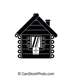 Wooden house icon, simple style