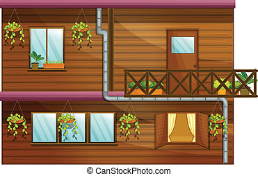 Wooden house - Illustration of a wooden house