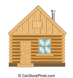 Wooden house - Illustration of the wooden lodge on white...