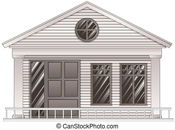 Wooden house in grayscale illustration