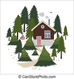 Wooden house in the coniferous forest.
