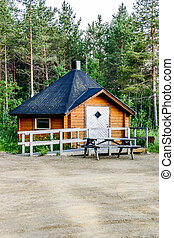 wooden house in the forest, beautiful photo digital picture