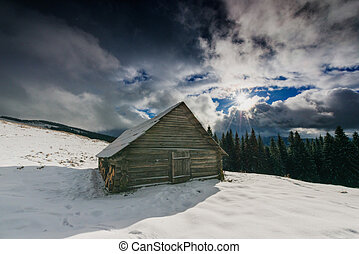 Wooden house in the mountains. Carpathian mountains, Ukraine, Europe