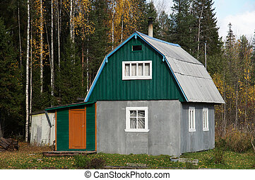 Wooden house in the village