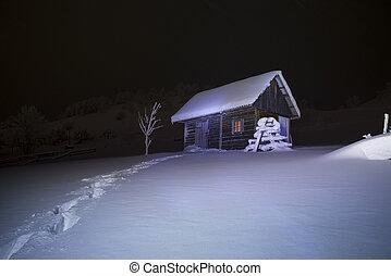 wooden house in winter forest snowy, landscape