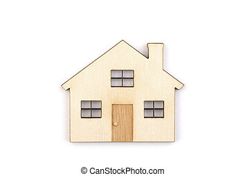 Wooden house isolated on white background with clipping path