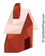 wooden house lowpoly style icon