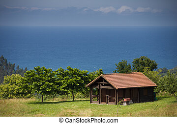 wooden house on the coast