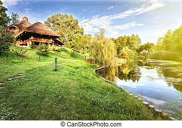 Wooden house on the lake