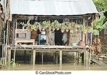 Wooden house on the river Mekong