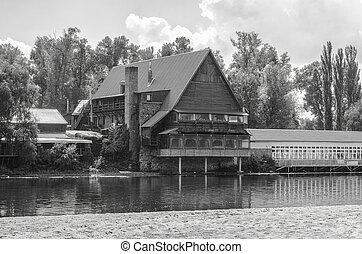 Wooden house on the river.
