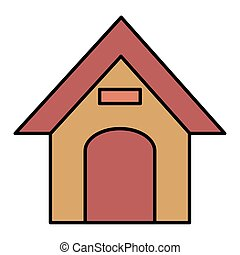 wooden house pet isolated icon