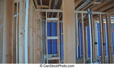 Wooden house residential construction home framing - Wooden ...