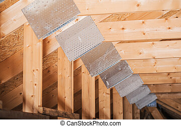 Wooden House Roof Frame Construction