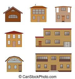 Wooden house set. Real estate, Vector illustration