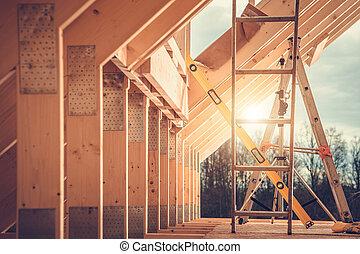 Wooden House Skeleton Construction Theme