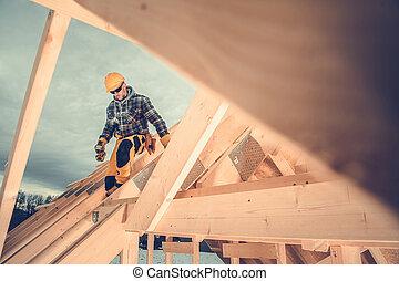 Wooden House Skeleton Frame Worker