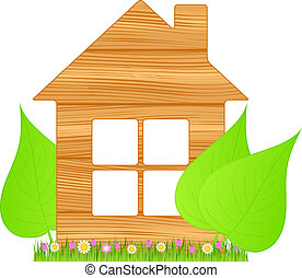 Wooden house - Symbol of ecological wooden house, vector ...