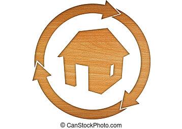 wooden house symbols