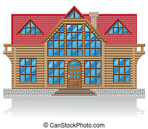 wooden house vector illustration isolated on white ...