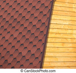 Wooden house wall and part of roof