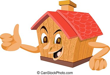 Wooden House with a Face, illustration - Wooden House with a...