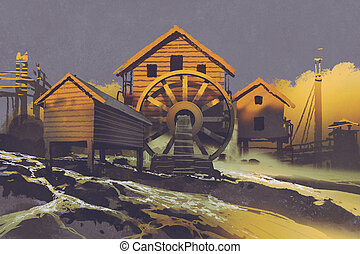 wooden house with a waterwheel on mountain rock at...