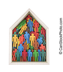 Wooden house with colorful painted group of people figures isolated on white background