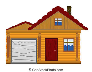 wooden house with garage