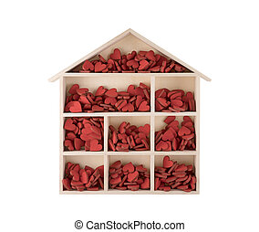 Wooden house with many red hearts isolated on white background