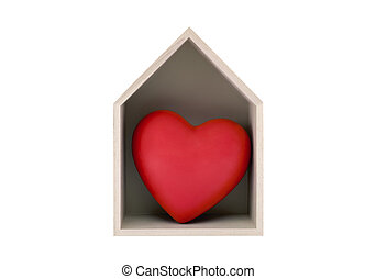 Wooden house with red heart isolated on white with clipping path