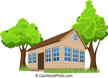 Wooden house with trees on white background