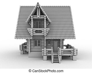 wooden house   - wooden house 3d illustration on white