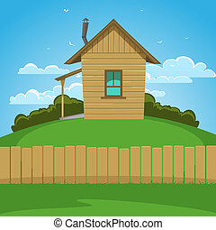 Wooden House - Wooden house on the hill, cartoon ...