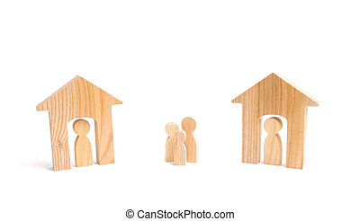 Wooden houses and people and a man between them on a white background. Neighbors. Relations between neighbors in the suburbs. A homeless family, lack of shelter and shelter.