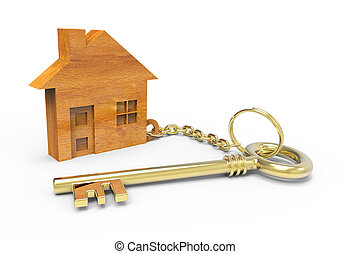 Wooden houses - Golden key with wooden houses