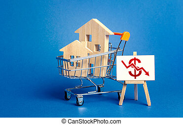 Wooden houses in a shopping cart and an easel with a red dollar arrow down chart. Fall of real estate market. Cheap rent. Reduced demand, recession. Low sales. Value cost decrease. Bad attractiveness.