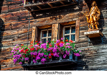wooden houses in Fiesch - Switzerland